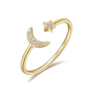 Diamond Moon & Star Ring