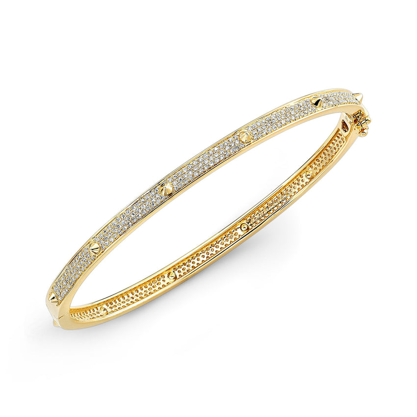 Diamond Pave Bangle with Cone Accents