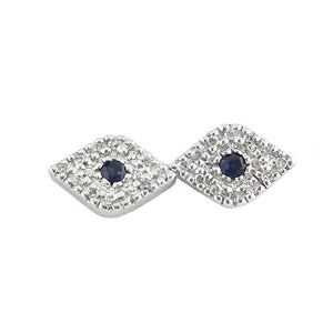 Diamond and Blue Sapphire Evil Eye Studs