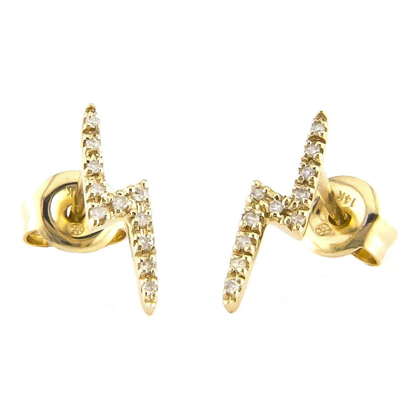 Diamond Lightening Bolt Studs