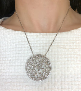 Diamond scattered filigree necklace