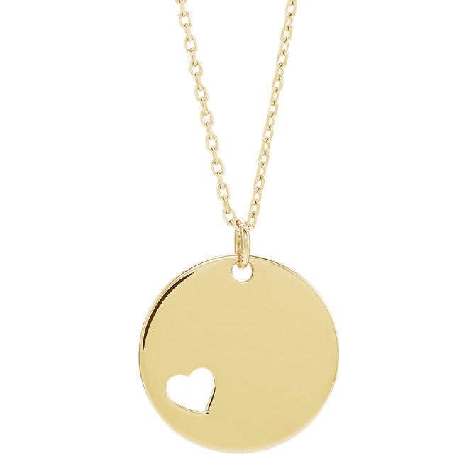Disc with Heart Cut-Out Necklace