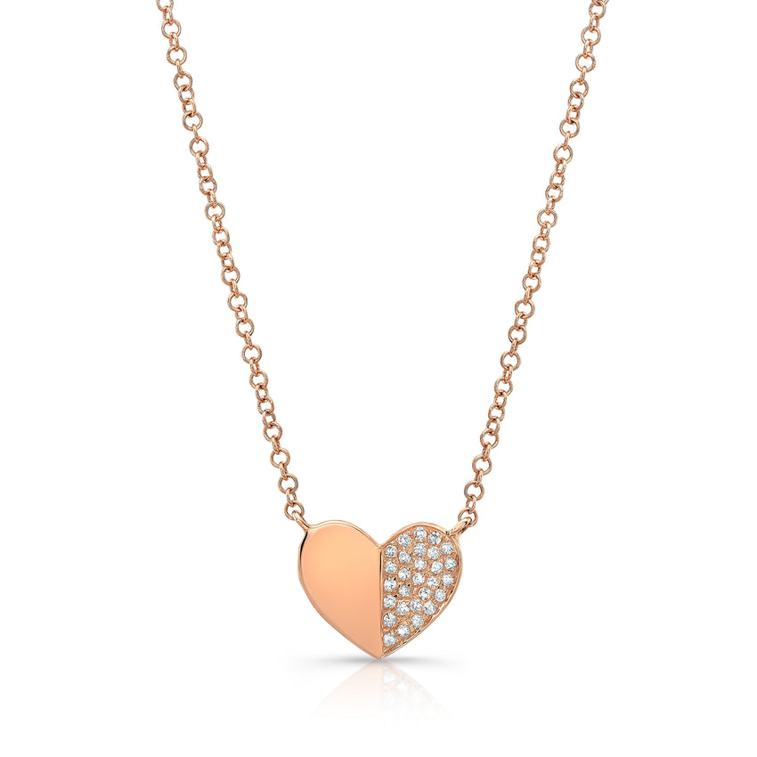 Folded Diamond Heart Necklace