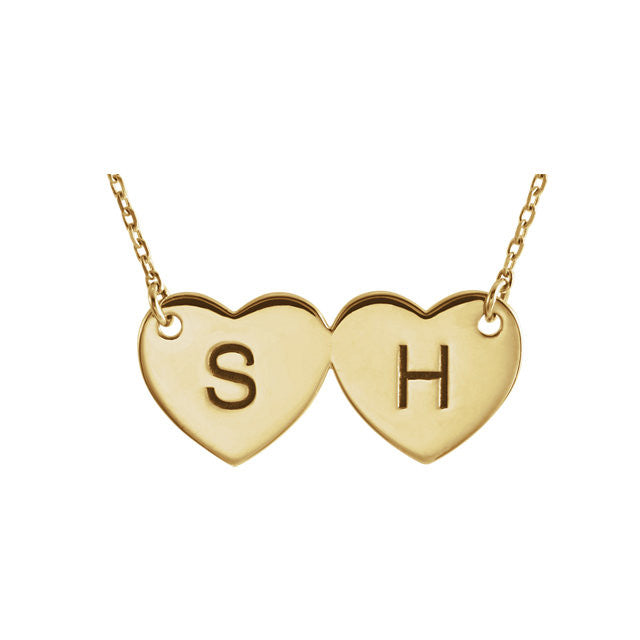 Double Heart Engravable Necklace