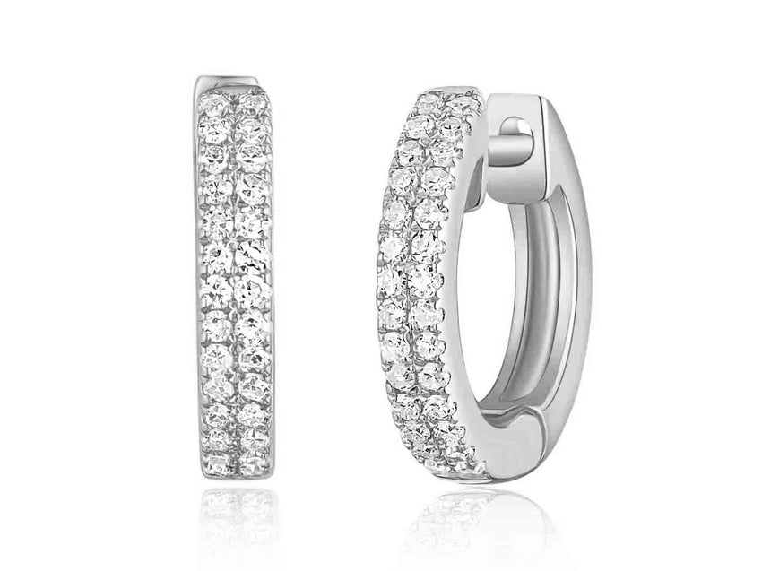 Double Row Pave Huggie Earrings