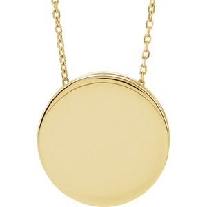 Engravable Scroll Disc Necklace