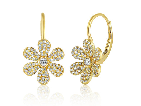 Eurowire Pave Flower Earrings