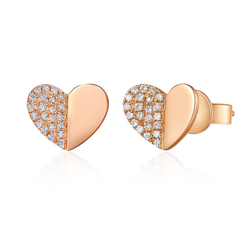 Folded diamond heart studs