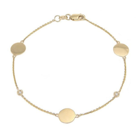 Gold disc and diamond bezel bracelet
