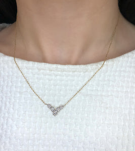 Graduated diamond v necklace