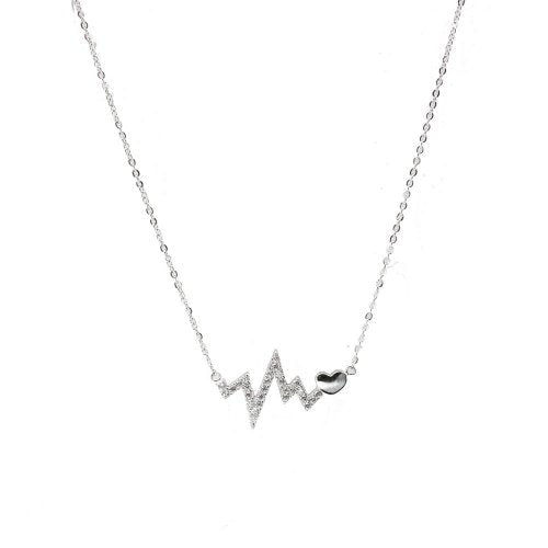 Heart Beat Necklace with heart-Sterling Silver
