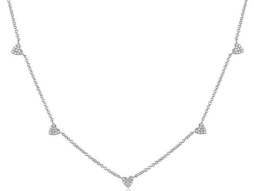 Diamond Heart Station Necklace