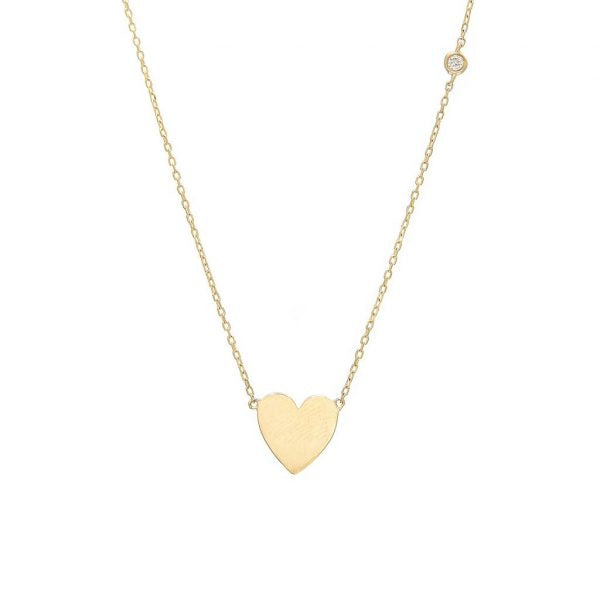 Heart Necklace with bezel diamond