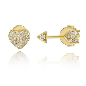 Heart and Arrow Stud Earring