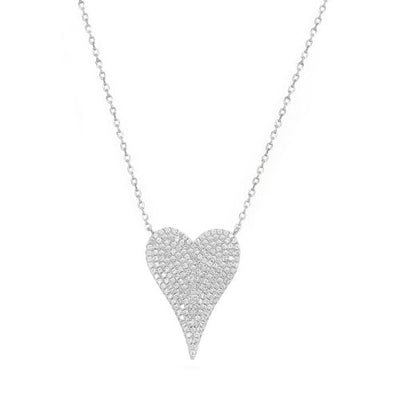 Jumbo Pave Heart Necklace-Sterling Silver