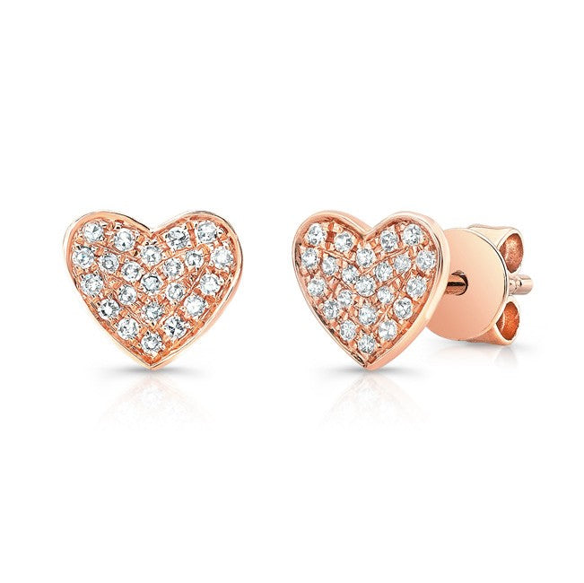 Petite Pave Heart Earrings