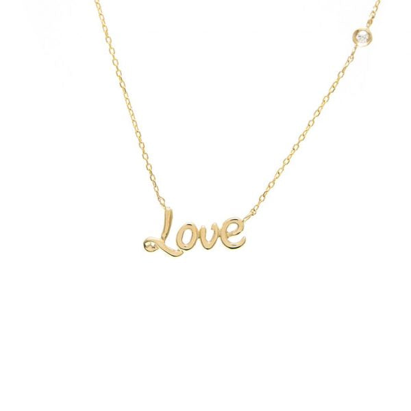 Love necklace with bezel diamond