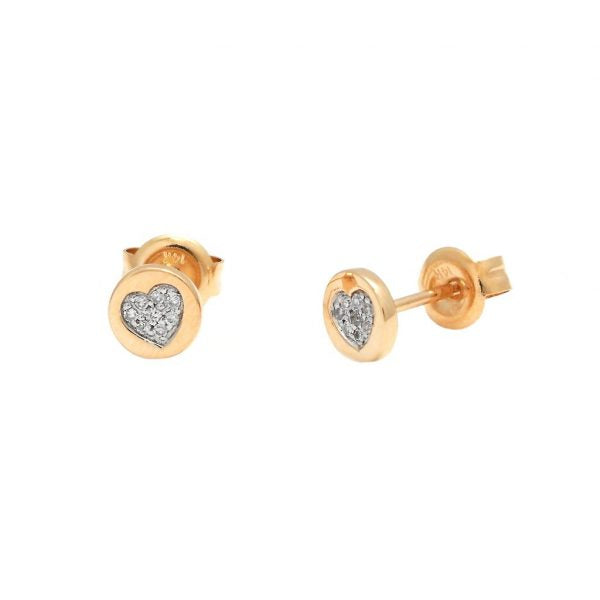 Mini diamond heart disc earrings