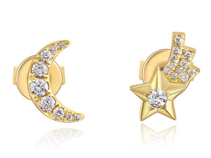 Moon and Shooting Star Studs