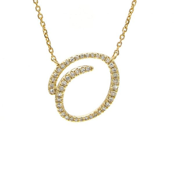 Swirl Diamond Initial Necklace
