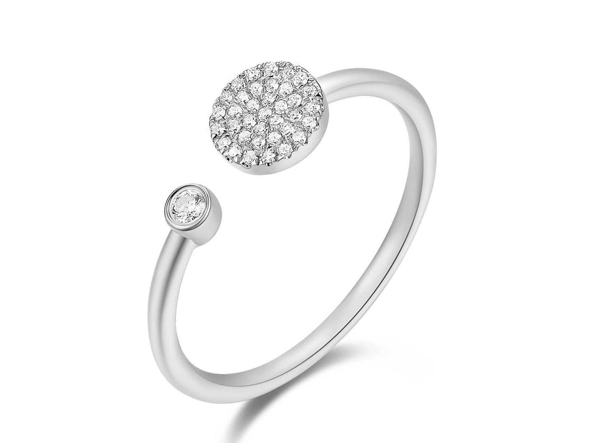 Pave Disc and Bezel Diamond Cuff Ring