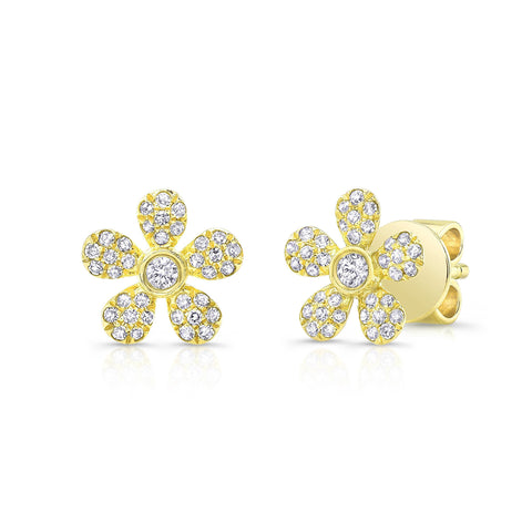 Diamond Pave Flower Earring