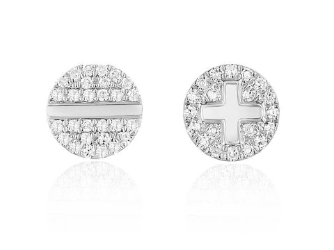 Pave Plus and Minus Earring
