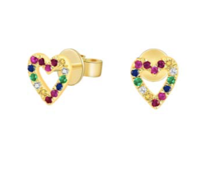 Rainbow Sapphire Heart Earrings