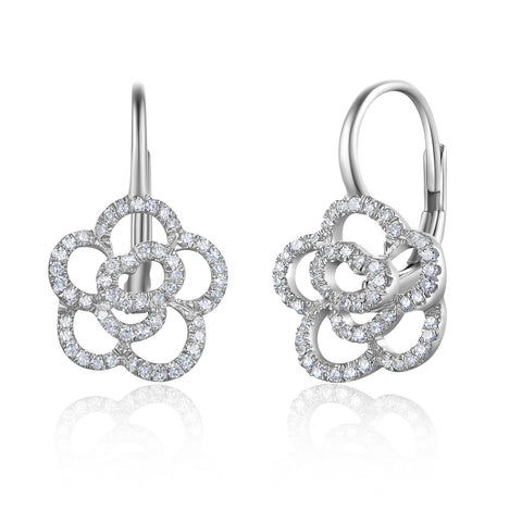 Diamond Rosette Lever Back Earrings