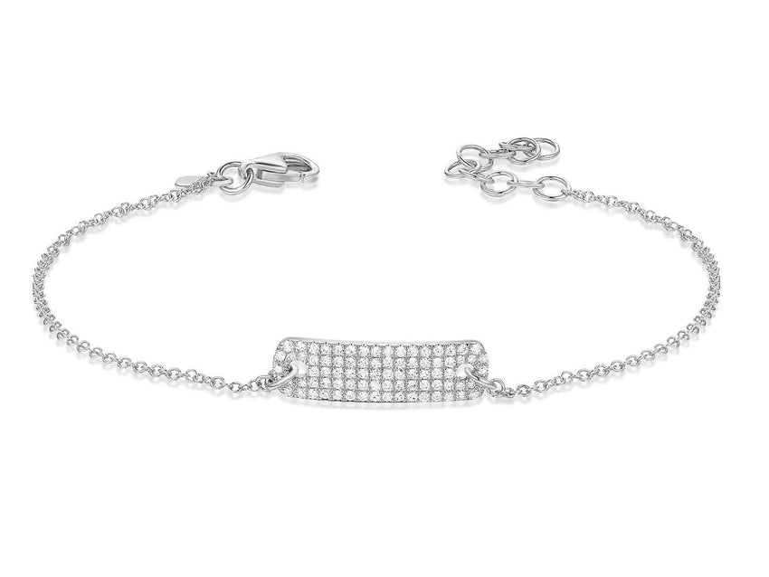 Small rectangle pave ID Bracelet