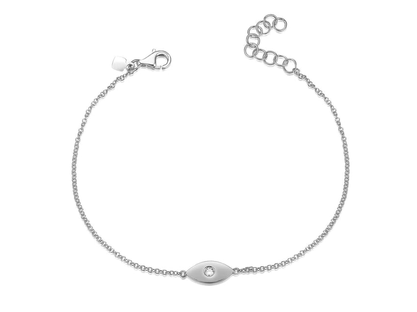 Solid Evil Eye Diamond Bracelet