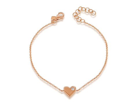 Solid Heart and Diamond Bracelet
