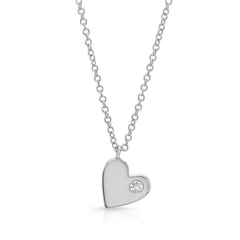Solid Slanted Heart with Single Diamond
