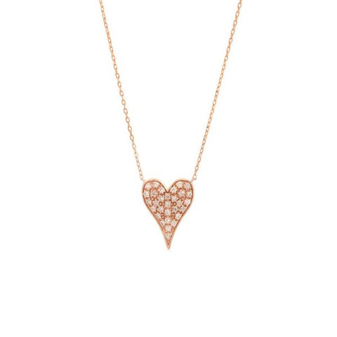 Tapered Diamond Heart Necklace