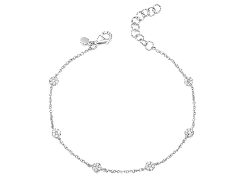 Tiny Diamond Disc Chain Bracelet