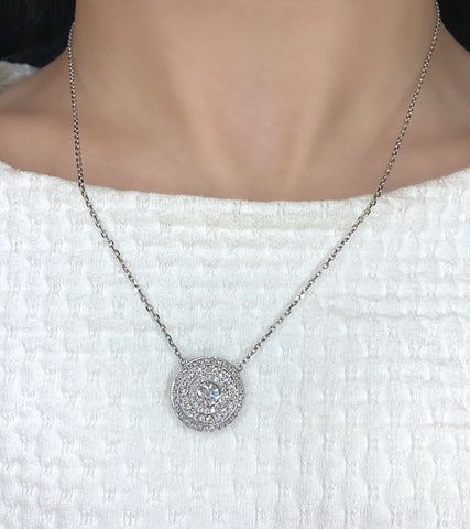 Triple diamond halo necklace