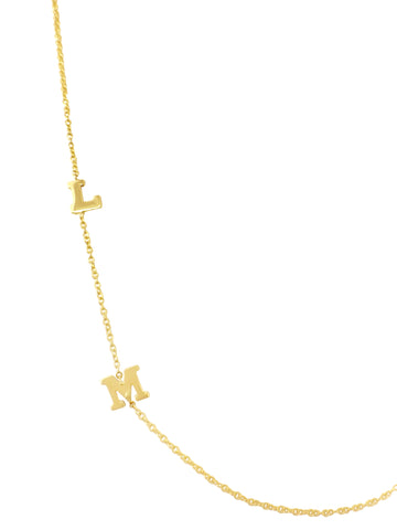 Mini Varsity Asymmetrical Initial Necklace