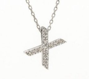 Block Diamond Initial Necklace