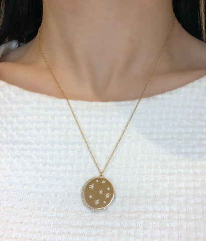 Celestial diamond medallion necklace