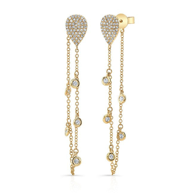 Chained Dangling Diamond Earrings