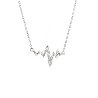 Diamond heart beat necklace