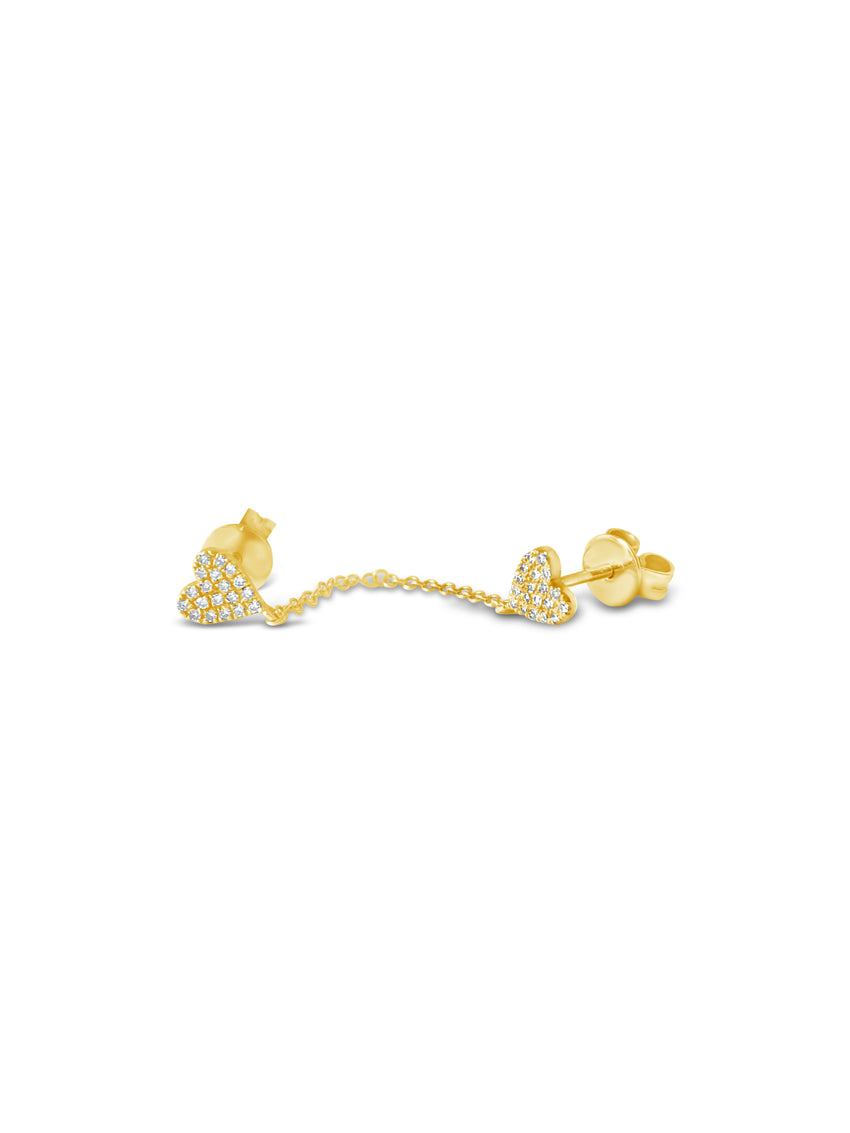 Chain link diamond heart studs