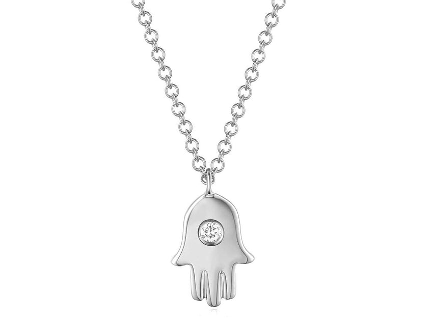 Diamond Bezel Hamsa Necklace