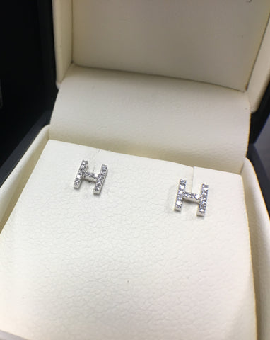 Mini Diamond Initial Earrings