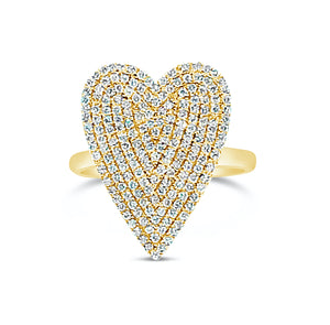 Jumbo diamond pave heart ring