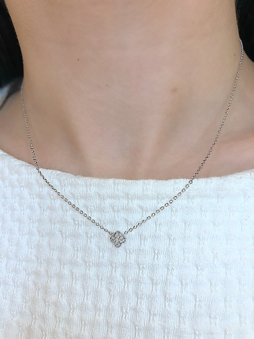Mini diamond clover necklace