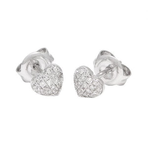 Mini diamond pave heart studs