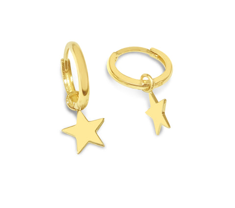 Mini Gold Huggies with star enhancers