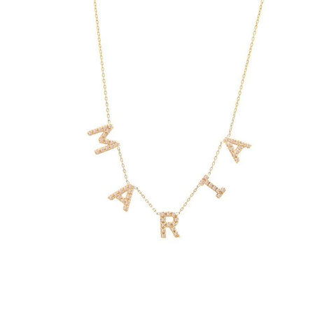 Multi Block Diamond Initial Necklace
