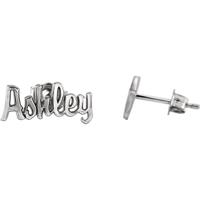 Script Nameplate Earrings